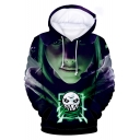 Popular Game Figure Pattern Long Sleeve Drawstring Hoodie