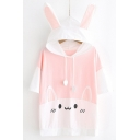 Lovely Cartoon Cat Pattern Ear Design Hooded Casual Loose T-Shirt