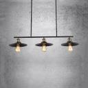 Kitchen Saucer Island Hanging Island Lights with 3 Lights Metal Industrial Black Pendant Lights