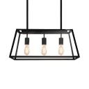 Modern Trapezoid Island Lighting Metal 3 Lights Black Ceiling Light with 19.5