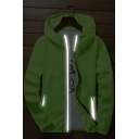 Mens Summer Solid Color Quick Drying Ultra Thin Windproof Sun Protection Zip Up Hooded Luminous Jacket