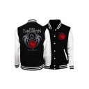 Game of Thrones A Song of Ice and Fire Dragon Print Rib Stand Collar Long Sleeve Button-Down Black Baseball Jacket