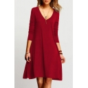 Women's Basic Simple Plain V-Neck Long Sleeve Red Mini A-Line Dress