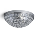 3-Light Dome Ceiling Lighting Modern Style Clear Crystal Flush Mount Light Fixture in Chrome, H6