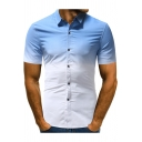 Guys Fashion Ombre Color Short Sleeve Slim Fit Button-Front Shirt