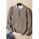 Mens Unique Patchwork Jacquard Round Neck Plain Marled Knit Sweater