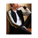 Mens Basic Fitted Color Block Zip Up Marled Cardigan