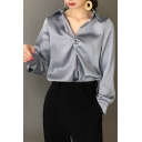 New Stylish Women's Plain V-Neck Kinking Design Long Sleeve Loose Blouse