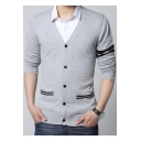 Mens New Trendy Stripe Long Sleeve V-Neck Thin Fitted Button Down Cardigan