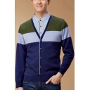 Trendy Colorblock Long Sleeve V-Neck Mens Button Down Business Dark Blue Cardigan