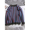 Men's Trendy Vertical Striped Round Neck Long Sleeve Pullover Sweater