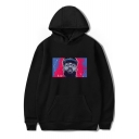 Cool American Rapper Colorful Portrait Painting Loose Relaxed Souvenir Hoodie