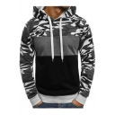 Mens Fashion Camo Colorblock Fitted Long Sleeve Drawstring Hoodie