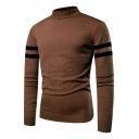 Men's New Stylish Mock Neck Striped Print Long Sleeve Pullover Sweater