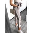 New Stylish Tied Waist Striped Side Leisure Pants with Pockets