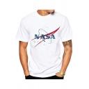 Round Neck NASA Graphic Printed Short Sleeve Casual White Tee