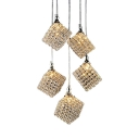 Crystal Pendant Light Kitchen with Hanging Cord, Modern Height Adjustable Square Pendant Lights in Gold with Clear Crystal