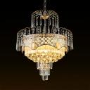Dining Room Drum Chandelier Clear Crystal 3/5 Lights Art Deco Brass Hanging Chandelier