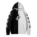 Fashionable Color Block Chinese Letter Goodness and Evil Printed Long Sleeves Pullover Hoodie