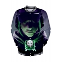 Fashion 3D Figure Printed Stand-Collar Button Down Baseball Jacket