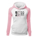 Fashion Colorblock Letter STAR Printed Raglan Sleeve Slim Fit Drawstring Hoodie