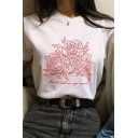 New Trendy Letter Floral Printed Round Neck Short Sleeve White Casual T-Shirt