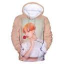New Stylish Boy Band 3D Rose Figure Printed Long Sleeve Sport Casual Pullover Hoodie