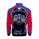 Popular American Rapper Portrait Printed Stand-Collar Zip Up Sport Colorblock Blue and Red Jacket