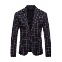 Trendy Notched Lapel Single Button Long Sleeves Flap-Pockets Mens Checked Suit Jacket
