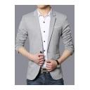 Mens Fashionable Plain Single Button Notch Lapel Split Back Long Sleeve Slim Fit Blazer Jacket