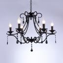 Vintage Candle Chandelier with Black Crystal 6 Lights Metal Hanging Lamp for Living Room