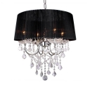 Fabric Drum Shape Chandelier 4 Lights Modern Pendant Lighting Fixture with Clear Crystal for Bedroom