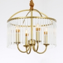 4/6/8 Lights Candle Pendant Light with Crystal Rod Mid Century Modern Hanging Light Fixture in Gold