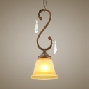 Bell Shade Foyer Pendant Light Glass Single Light Rustic Hanging Light with Clear Crystal Prism