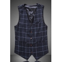 Men's Classic Plaid Print Button Front Chain Back Belt Decor Casual Suit Vest