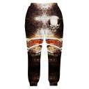 Hot Fashion 3D Skull Printed Elastic Waist Casual Pants Sweatpants