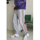 Guys Street Fashion Striped Print Side Drawstring Waist Casual Cotton Pants Sweatpants