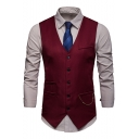 Hot Fashion Chain Embellished Solid Color Buckle Back Single Breasted Men's Suit Vest