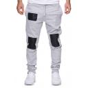 Men's Hip Hop Style PU Patchwork Drawstring Waist Casual Sport Cotton Pants Sweatpants