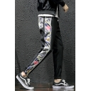 Retro Floral Printed Drawstring Waist Black Casual Track Pants for Men