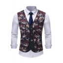 Men's Fashion Camo Printed Single Breasted Fake Two-Piece Wedding Suit Vest for Groom