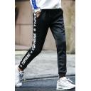 New Trendy Letter Pattern Side Drawstring Waist Mens Casual Sport Sweatpants