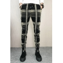 Fashion Plaid Pattern Drawstring Waist Slim-Fit Pants for Men