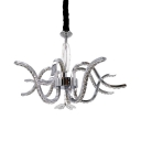 Contemporary Hanging Light Metal Pendant Lighting Fixture with Clear Crystal Bead in Silver for Bedroom