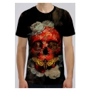 Unique Cool 3D Floral Skull Pattern Round Neck Short Sleeve Black Unisex Tee