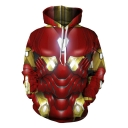 3D Cosplay Costume Red Loose Fit Drawstring Hoodie