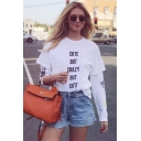 Cool Letter CUTE BUT CRAZY BUT CUTE Printed Short Sleeve White Casual T-Shirt