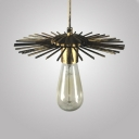 Antique Open Bulb Hanging Lamp Length Adjustable Glass Single Light Gold/Rust Pendant Lighting for Dining Room