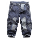Mens Summer Stylish Camouflage Printed Flap Pocket Side Denim Shorts Cargo Shorts