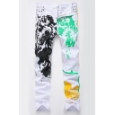 New Stylish Colorful Splash-Ink Smile Face Printed Stretch Fitted White Jeans for Men